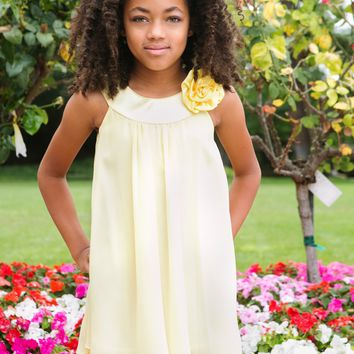 Yellow Chiffon Shift Dress with 2 Tier Hem & Satin Neckline (Girls 2T - Size 14)