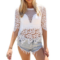 Sexy Women Lace Crochet Tassel Bikini Swimwear Cover Up Beach Half Of Sleeve Blouse
