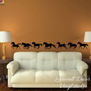 Running Horses Large Animal Wall Sticker Baby Nursery Kids Room Set of 7 Horse Animal Wall Decal Bedroom Living Room Vinyl Decor