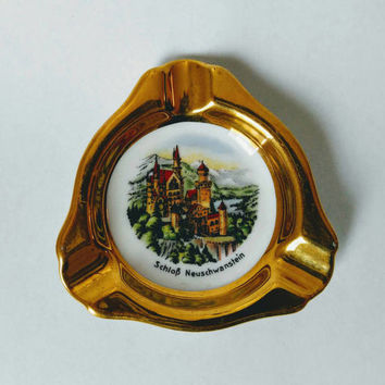 Gold plated german vintage ceramic ashtray, trinket holder, jewelry plate 1970s