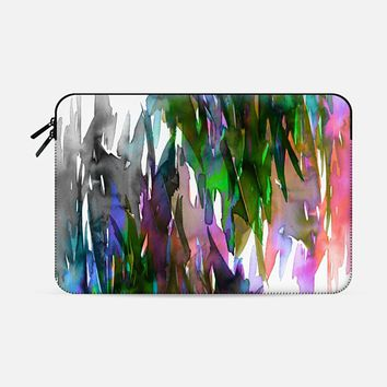 FERVOR 2 - Colorful Abstract Watercolor Painting Fine Art Multicolor Rainbow Stripes Balance Coral Pink Neon Lime Green Blue Grey Black White Brushstrokes Elegant Modern Bold Whimsical Chic Macbook Pro 15 sleeve by Ebi Emporium | Casetify