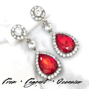 Red Crystal Rhinestone Drop Occasion Earrings