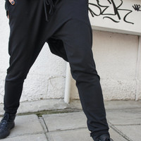 Loose Casual Black Drop Crotch Harem Pants / Extravagant Black Pants/Unisex pants