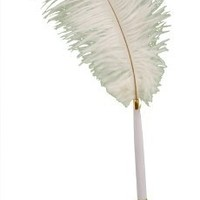 White Ostrich Feather Plume Pen Set