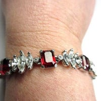 Ciner Bracelet Ruby Glass Rhinestone Retro Haute Couture 1960s
