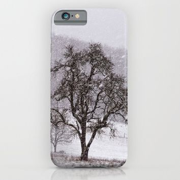 Old pear tree on a wintery meadow iPhone & iPod Case by Pirmin Nohr