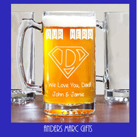 25 oz My Hero Super Dad Beer Mug! ** Personalize Message * Personalized Fathers Day Gift for him under 20. Personalized Fathers Day Mug