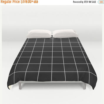 SALE FLAT 20% OFF Duvet Cover, grid bedding, black and white bedding, grid duvet cover, Bedding, Home Interior Decoration