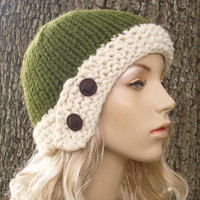 Hand Knit Hat Cloche Hat in Olive Green and Cream by pixiebell