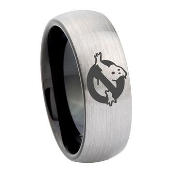 10mm Ghostbusters Dome Tungsten Carbide Silver Black Wedding Ring