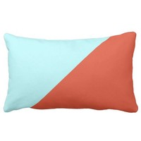 Tigerlily Warm Orange And Turquoise Blue Diagonal