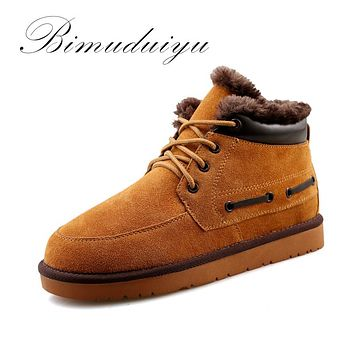 New Winter Men Snow Boots Frosted Leather Suede Warm with Boots Flat Non-slip Cotton Boots Casual Shoe