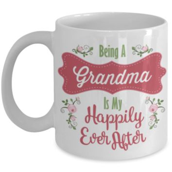 Inspiration Grandma Mug - Christmas 2016 Grandparents Cup Holidays Gift - White Ceramic Happiness Cup For Granny