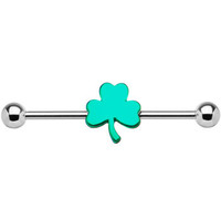 Stainless Steel Shamrock Industrial Barbell | Body Candy Body Jewelry