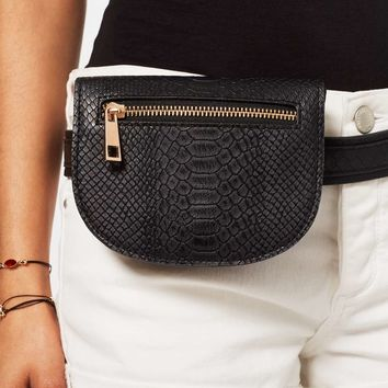 Black Snake Belt Bag | Missselfridge