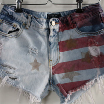"Low Rise 28"" Raw American Flag SHRed Bleached Reworked Low Waist Jean Shorts"