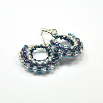 Beadwork earrings. Beaded earrings. Seed bead earrings. Seed bead jewelry. Bohemian jewelry. Handmade gift for her.