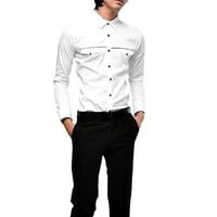 Allegra K Men Long Sleeve Point Collar Fake Pocket Button up Shirt White S