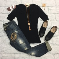 Basic V-Neck Mid Sleeve Thermal Top