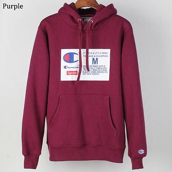 Champion x Supreme co-branded sports and leisure hooded sweater Purple