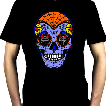 "Blue Sugar Skull Men's T-shirt ""Dia De Los Muertos"" Day of the Dead"