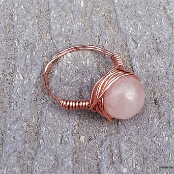 Rose Quartz and Copper Wire Wrapped Ring - Rose Quartz Bead Wrapped in Recycled Copper Wire - Light Pink Stone Ring - Made to Order