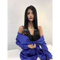 Black Silky Straight Swiss Lace Front Wig - Midnight Diva 121737*