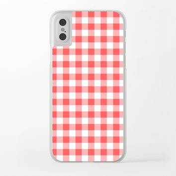 gingham red pattern Clear iPhone Case by jessycat