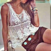 Crochet Beach Cover Up Knitted Sleeveless Top
