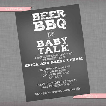 Coed Baby Shower Invitation - Beer BBQ and Baby Talk - Printable Couples' Custom Baby Shower Invitation