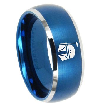 10mm Star Wars Boba Fett Sci Fi Science Dome Brushed Blue 2 Tone Tungsten Bands Ring