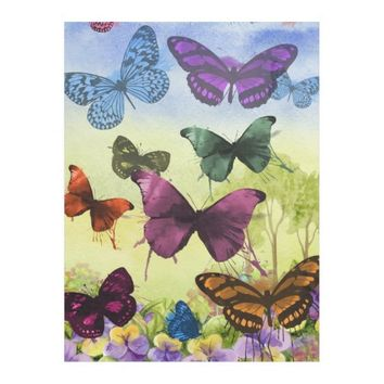 Multicolor Butterfly Watercolor Painting Fleece Blanket
