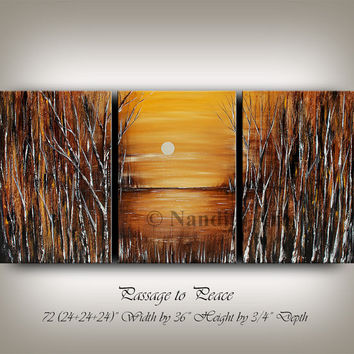 Landscape acrylic painting, birch tree art landscape abstract painting modern sunset art gold color gift for wedding, anniversary by Nandita
