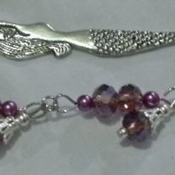 Beaded Mermaid Bookmark -  Purple Swarovski Crystals & Purple Pearls