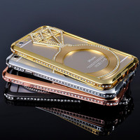 Bling Diamond Ring Design Edge Frame Bumper Case For iPhone 6 Plus 5.5inch
