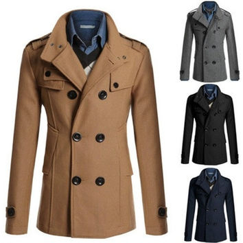 Stylish Men's Trench Coat Winter Long Jacket Double Breasted Overcoat Outwear [8833969420]