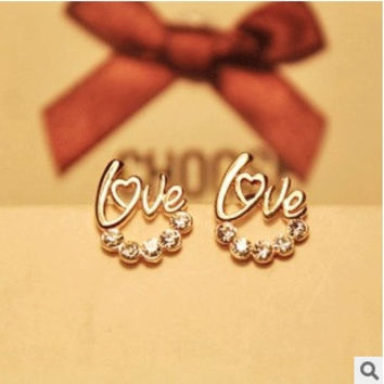 2 pairs/set(gold/silver) Korea fashion Jewelry exquisite Ladies sweet romantic cute Love Letters Crystal Stud Earrings = 1669360260