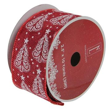 "Cranberry Red and White Trees Burlap Wired Christmas Craft Ribbon 2.5"" x 10 Yards"