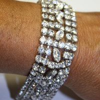 Vintage Rhinestone Bracelet Wide 1950s Jewelry by patwatty on Etsy
