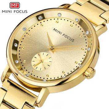 MINI FOCUS Women's Bracelet Fashion Steel Ladies Watch Luxury Brand Golden Quartz Woman Wristwatches Relojes Mujer Gift