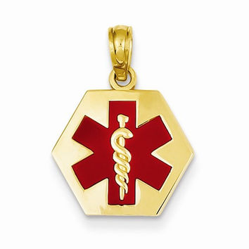 14 Yellow Gold Hexigon Shape Medical Alert Pendant