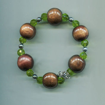 brown chunky wood bead wire bracelet, green glass beaded  handmade fashion hippie boho jewelry
