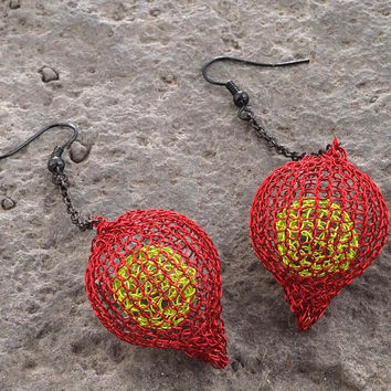 Chunky Long Earrings, Knitted Beads, Contemporary Nature Inspired Wire Crochet Jewelry Ruby Red and Chartreuse Valentines Gift