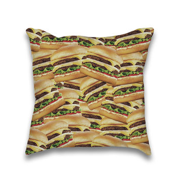 Pile of Cheeseburgers Print Throw Pillow