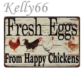 [ Kelly66 ] Fresh Eggs From Happy Chickens Vintage Metal Sign Poster Home Decor Bar Wall Art Painting 20*30 CM Size y-1435