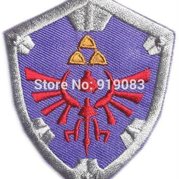 """3"""" THE LEGEND OF ZELDA VIDEO GAME Patch Hyrule's Royal Crest SHIELD Embroidered Iron on Badge Movie cosplay Halloween Costume"""
