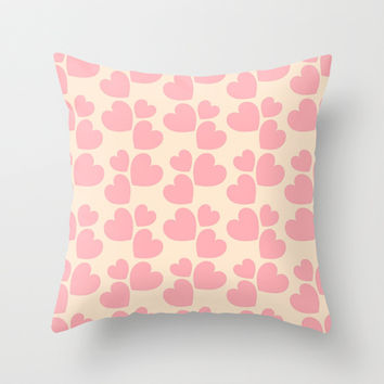 Pale Pink Love Hearts Throw Pillow by Colorful Art