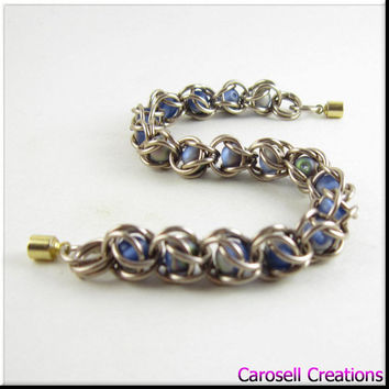 Captured Bead Chain Maille Bracelet Antique Gold with Satin Blue Beads