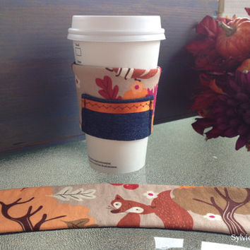 2-pack Denim with Forest Fox print  reversible Coffee/Tea cup cozy, one with pocket.