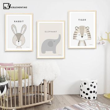 Kawaii Cartoon Rabbit Tiger Giraffe Animal Posters and Prints Canvas Art Painting Wall Art Nursery Picture Baby Room Decoration
